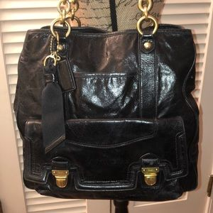 Coach Poppy Leather Pushlock North/South Tote Bag